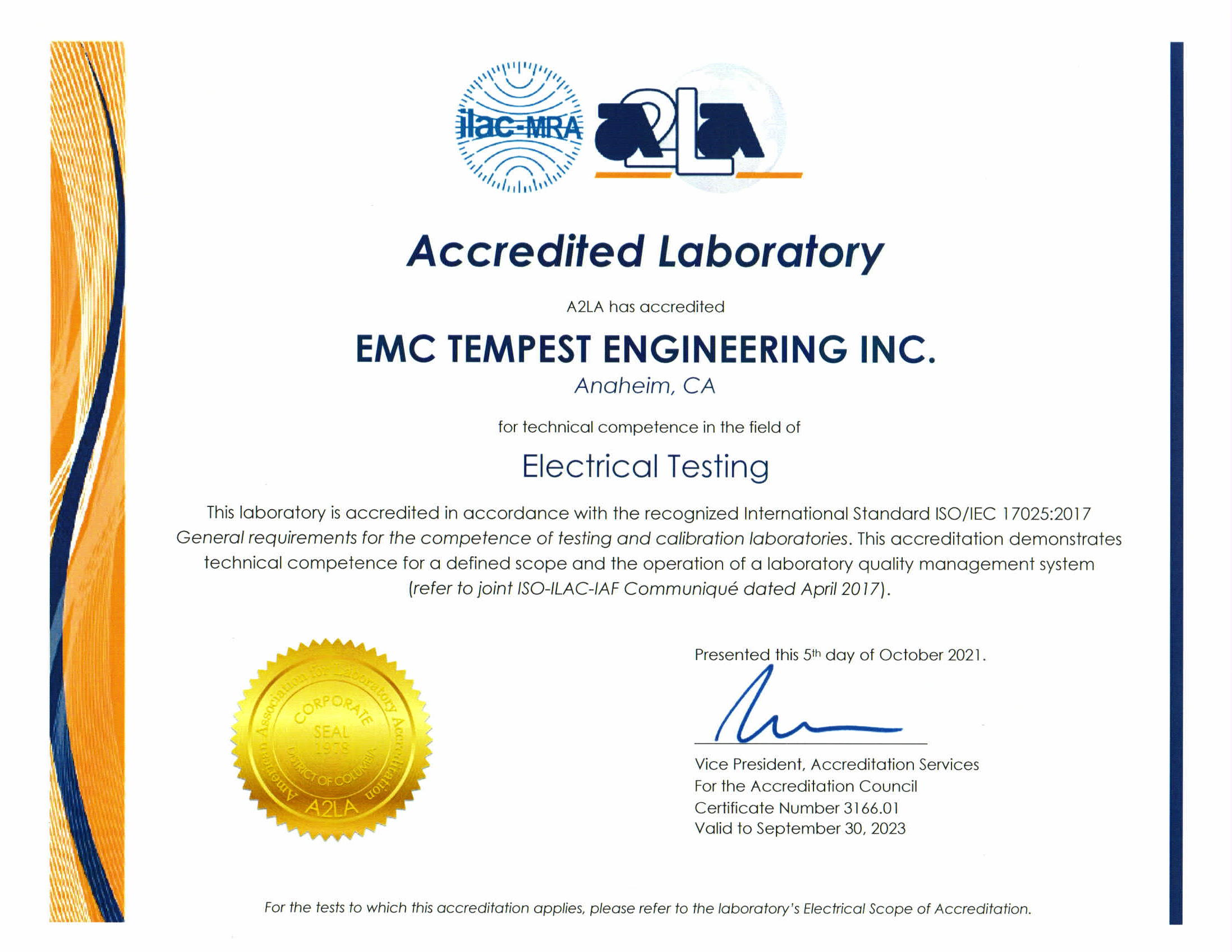 Electrical Testing Certificate